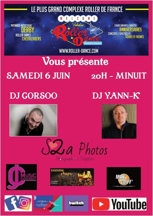 Roller Dance Soiree Retrouvailles 6 juin 2020 DJ CORSOO et DJ YANN-K